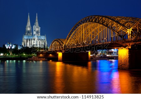Wonderful view of night Cologne over the Rhein river; GPS information is in the file