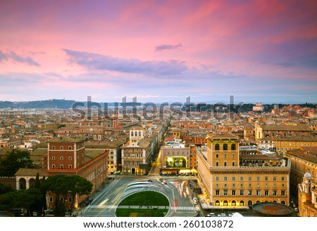 Wonderful view of Rome at sunset time - stock photo