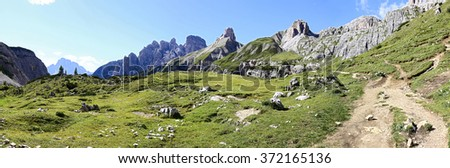 Wonderful view of the Dolomites - Trentino Alto Adige on the National Park Sexten (Italy)