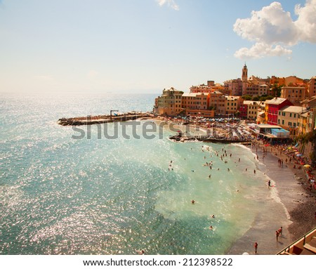 Wonderful view of the sea, with beach and little town - stock photo