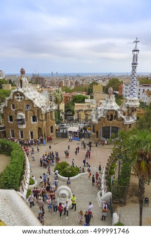 Wonderful view over the city of Barcelona from Park Guell - BARCELONA / SPAIN - OCTOBER 5, 2016