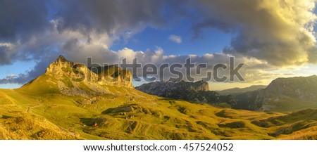 Wonderful view to mountains in the national park Durmitor. Montenegro Balkans Europe. Beauty world. Autumn Landscape in a blue sky - stock photo