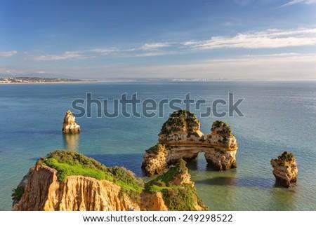 Wonderful views of the sea coast of Lagos. Algarve. - stock photo