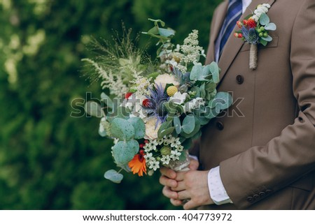 wonderful wedding bouquet for the bride on her wedding day happiness