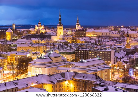 Wonderful winter night aerial scenery of the Old Town in Tallinn, Estonia - stock photo
