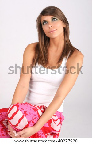 wondering girl - stock photo