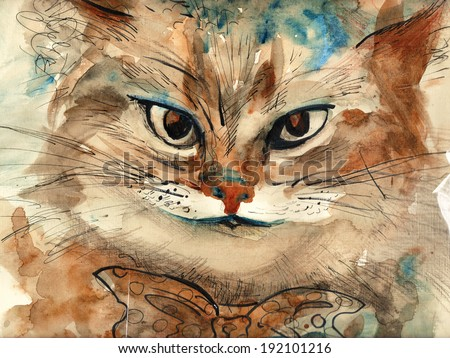 Wonderland cat with tie bow smiling watercolor illustration painting postcard poster funny stylish textile print - stock photo