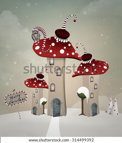 Wonderland series - Little wonderland village - stock photo