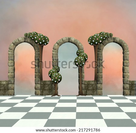 Wonderland series - Wonderland background with arcs and trees - stock photo