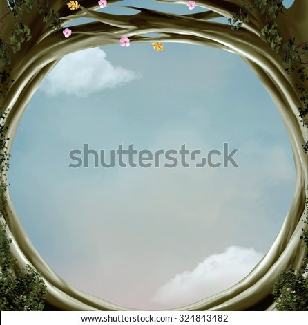 Wonderland series - Wonderland hole background - stock photo