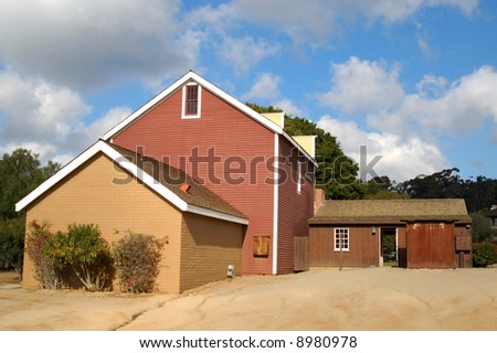 Wood and brick building; Old Town Historic State Park; Old Town; San Diego, California - stock photo