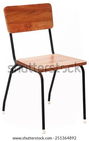 Wood and Metal Chair Isolated on White Background - stock photo