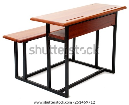 Wood and Metal School Desk Isolated on White Background - stock photo