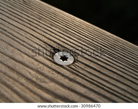 wood and torx screw - stock photo