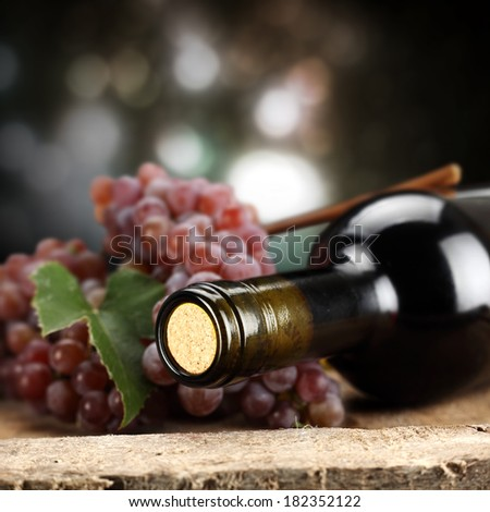 wood and wine and lights  - stock photo