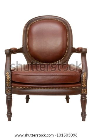 wood armchair isolated on white - stock photo