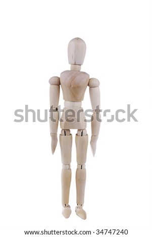 Wood Art Mannequin isolated on white background