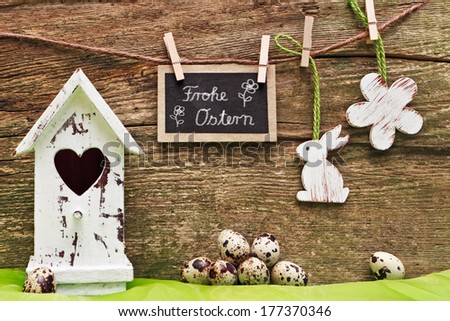 wood background, easter decoration, blackboard, Happy Easter - stock photo