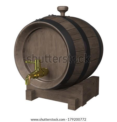 wood barrel - stock photo