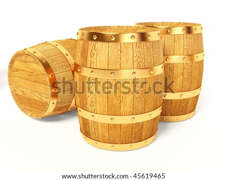 wood barrel on white background - stock photo