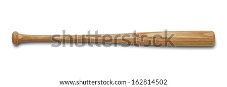 Wood Bat Isolated on White Background.