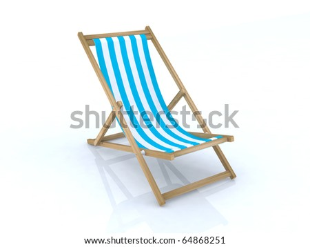 wood beach chairs various colors - stock photo