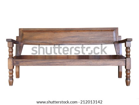 wood bench furniture isolated on white background - stock photo