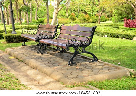 Wood bench in garden