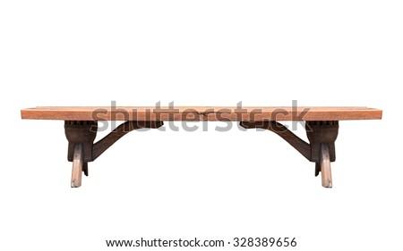 Wood bench isolated on white background. - stock photo