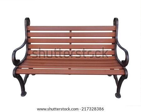 Wood bench isolation / Park wood brown bench isolation on white background - stock photo