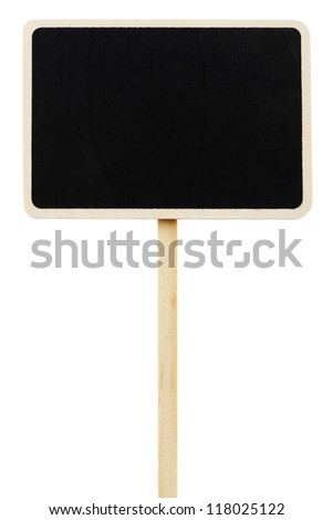 wood blackboard with pole isolated on white with clipping path - stock photo