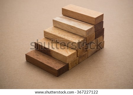Wood block stacking as step stair with. Business concept for growth success process. - stock photo