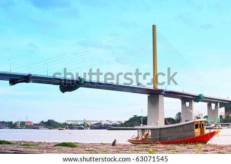 Wood Boat across the Chao Phraya River,Thailand - stock photo