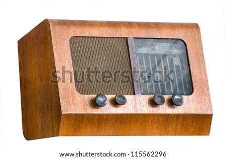Wood body vintage tube radio receiver - stock photo