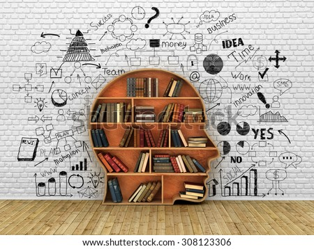 Wood Bookshelf in the Shape of Human Head and books near break wall, Knowledge Concept - stock photo
