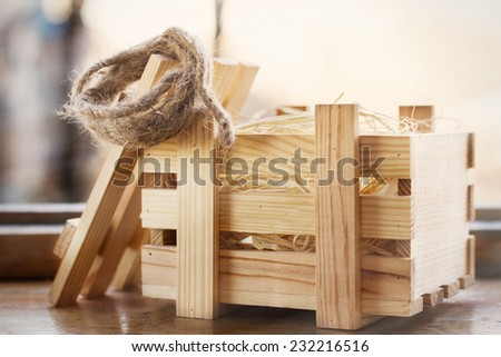 Wood box package - stock photo
