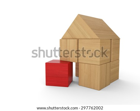 wood bricks house concept red 2 - stock photo