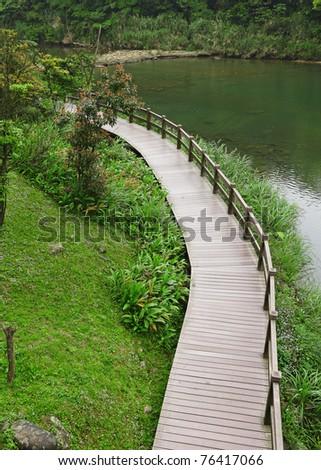 wood bridge for hiking - stock photo