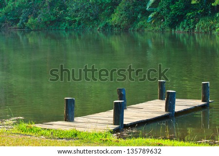 Wood bridge in lagoon