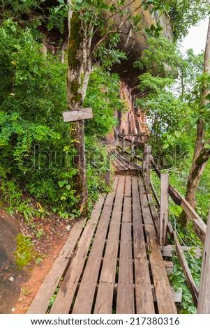 wood bridge thai on the mountain - stock photo