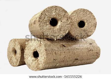 wood briquett - stock photo