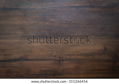 wood brown grain texture, dark wood wall background, top view of wooden table - stock photo
