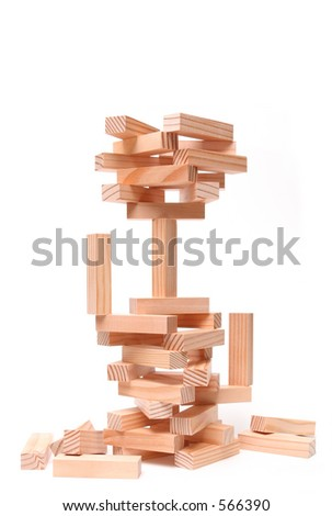 wood building blocks displaying an array of concepts. generic blocks closeup isolated over white - stock photo