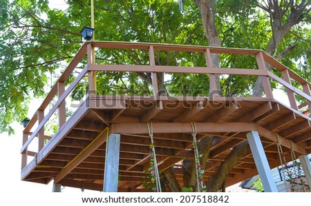 wood building house tree - stock photo