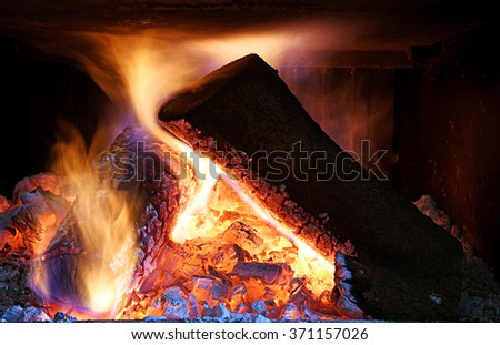 wood burning in the fireplace - stock photo