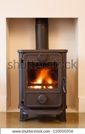 Wood burning stove - stock photo