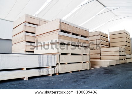 wood business storage warehouse store - stock photo