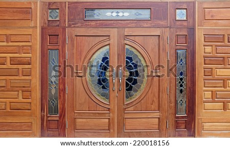 wood carved decoration of wooden door - stock photo