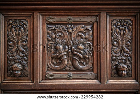 Wood carving background  - stock photo
