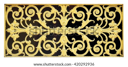 Wood carving or stucco for of Thai temple windows. - stock photo
